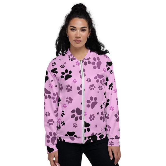 Paw Print Jacket   Dog Paw Bomber Jacket   Women's Zip Up Jacket   Custom Printed   Artist Designed