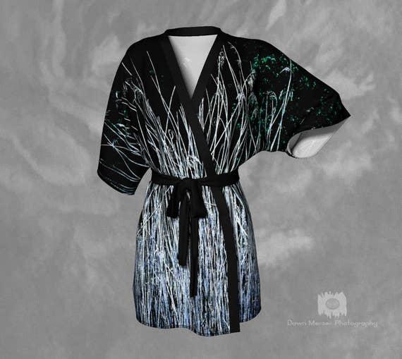 Nature Kimono Robe   Beach Cover Up   Printed Robe   Lounge Robe   Silky Robe   Chiffon Robe