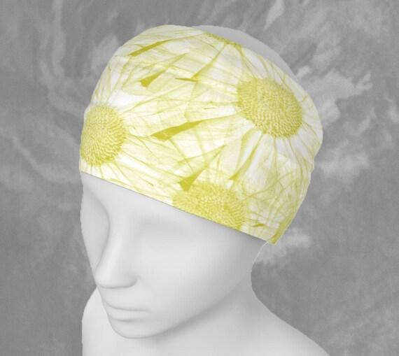 Daisy Flowers Headband Yellow Hairband Floral Bandana Stretchy Fabric Headband Daisy Scarf Yellow Daisy Headband Yellow Daisy Bandana Wide