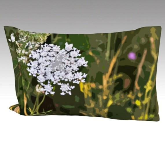 Field Flowers Pillow Case | Nature Art Pillow Cover | Nature Bed Pillow Sleeve
