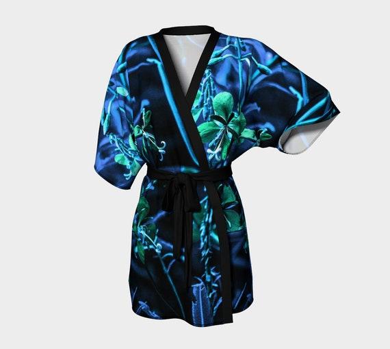 Kimono Blue Green Floral Kimono Robe For Women Unique Robe Chiffon Kimono Silky Kimono Robe