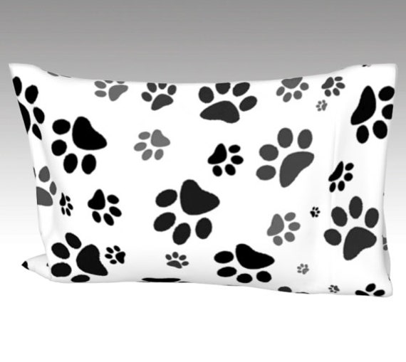 White Paw Print Pillow Case | Dog Paws Pillow Cover | Bed Pillow Sleeve