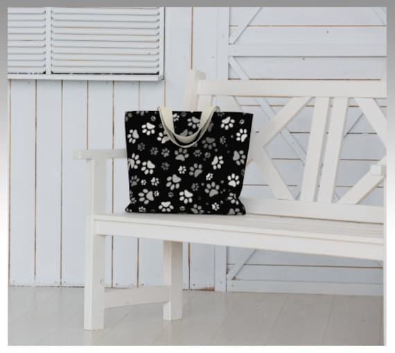 Paw Print Tote Bag | Black Dog Paw Tote Large