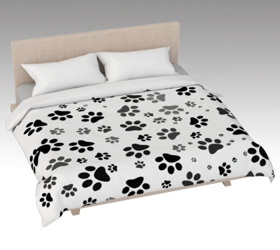 White Paw Print Duvet Cover | Dog Paws Bed Covering | Bed Cover Pink