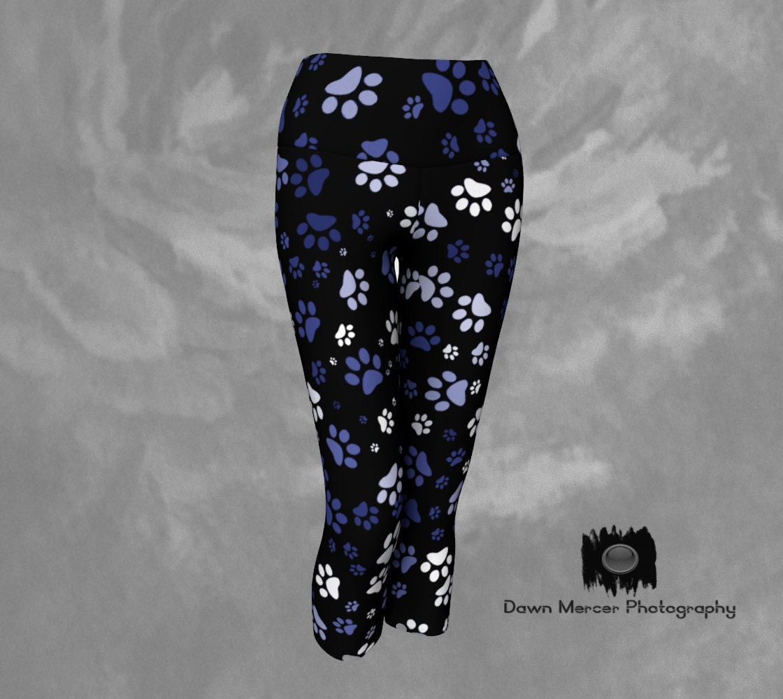 4ef64281bed1ae Paw Print Leggings Yoga Capris Legging Dog Paw Print Capris Tights, Capris  Leggings with Blue and White Dog Paw Prints, FREE SHIPPING