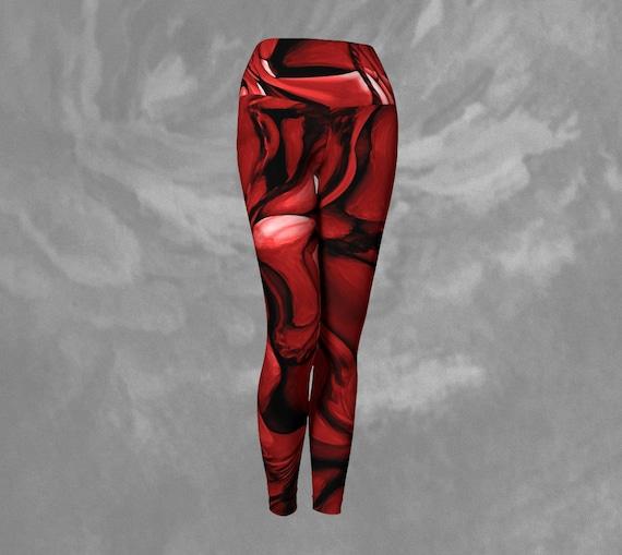 Red Abstract Leggings Yoga Womens Printed Red Art Leggings Custom Printed Artist Designed FREE SHIPPING