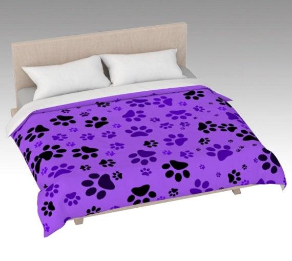 Paw Print Duvet Cover | Purple Paws Duvet Cover | Dog Paw Design | Custom Printed | Artist Designed