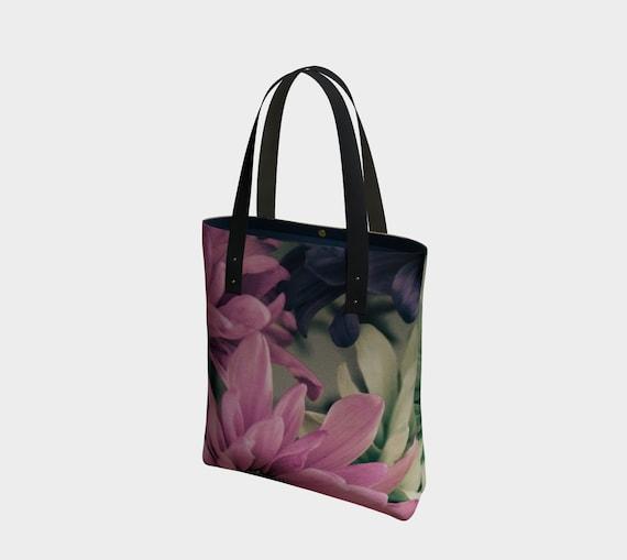 Floral Tote Bag Vintage Daisy Urban Tote Bag With Lining Custom Printed Artwork Design