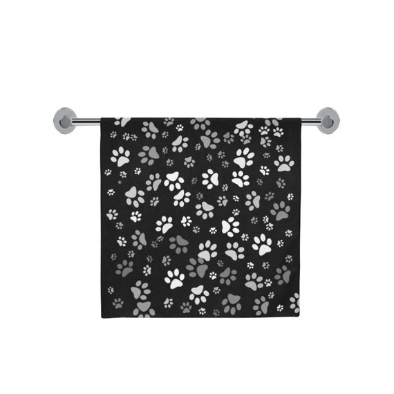 Dog Paw Print Towel   Black Paw Print Bath Towel