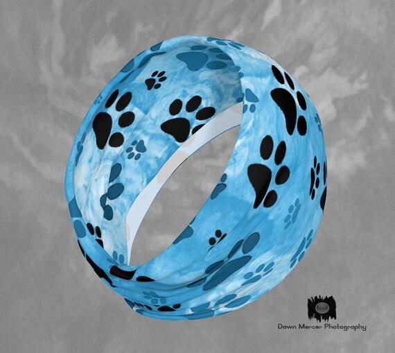 Blue Paw Print Headband Dog Paw Print Hairband Blue Paws Hair Band Scarf, Paw Print Headband For Women, Artist Designed