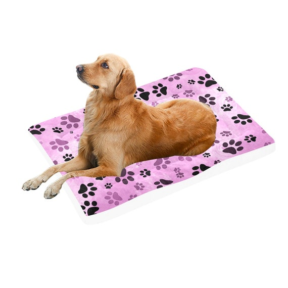 """Pink Paw Print Dog Bed 