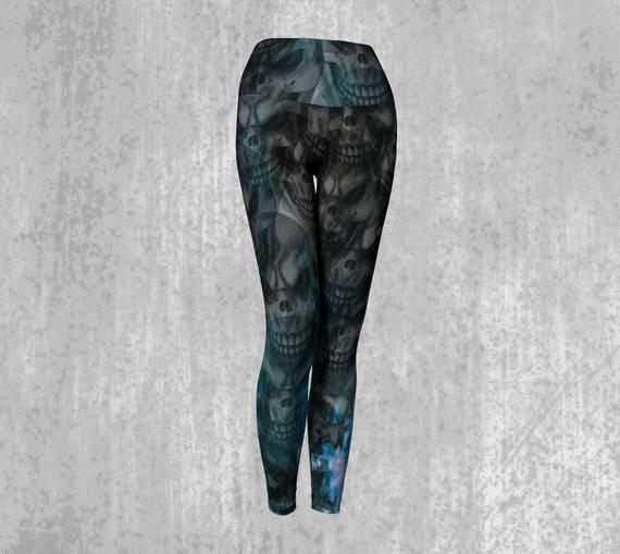 Skull Print Leggings Womens Skull Art Yoga Leggings Custom Printed Artist Designed FREE SHIPPING
