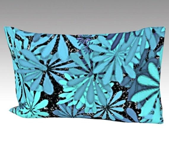 Blue Flowers Art Silk Pillow Case | Mulberry Silk Pillowcase | Floral Art Pillow Cover