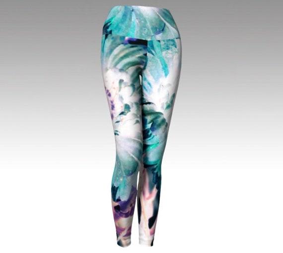Art Flower Yoga Leggings | Floral Yoga Pants | Workout Tights