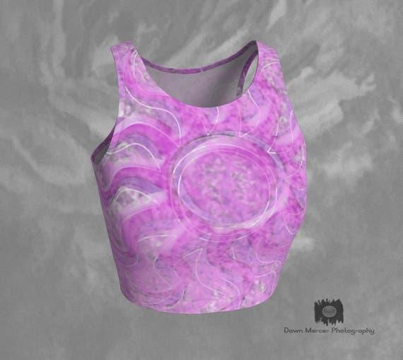 Boho Crop Top Pink Boho Top Printed Crop Top Yoga Crop Top Athletic Tops Workout Top Tight Pink Top Ladies Tank Tops Womens Crop Tops Artsy