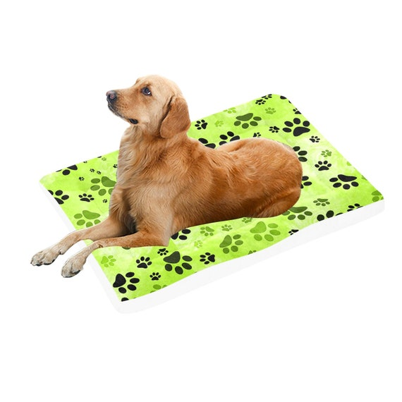 """Green Paw Print Dog Bed 