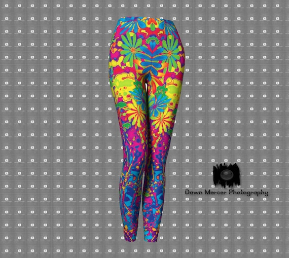 Psychedelic Art Leggings Hippie Floral Premium Tights Colorful Yoga Pants Hippy Flowers Psychedelic Art Artist Designed Custom Printed