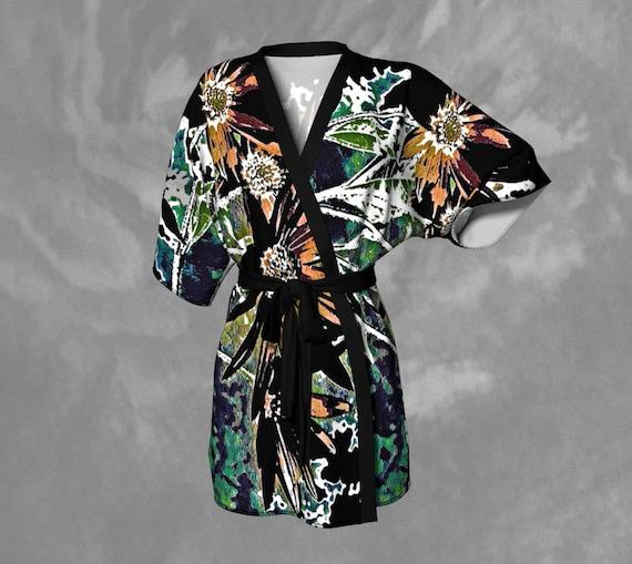 Printed Kimono Robe Unique Artistic Robe Womens Bathrobe Silky Art Kimono Robe Premium Kimono Robe Womens Chiffon Robe Fashion