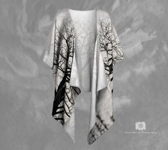 Tree Art Draped Kimono | Tree Print Kimono Jacket | Womens Kimono