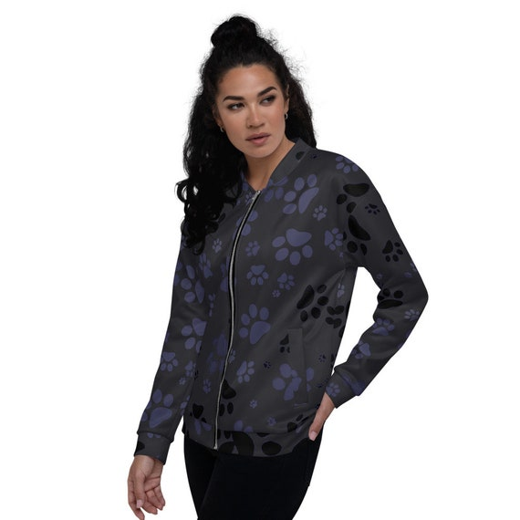 Paw Print Jacket | Dog Paw Jacket | Bomber Jacket | Women's Zip Up Jacket | Custom Printed | Artist Designed
