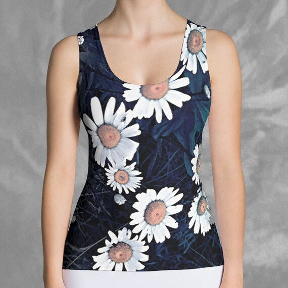 Daisy Tank Top Floral Print, Daisy Flower Tank Tops, Form Fitting Athletic Tank Womens Fashion Top Sleeveless, Activewear, FREE SHIPPING