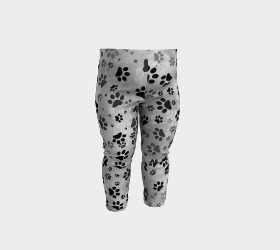 Paw Print Baby Leggings Grey Printed Dog Paw Print Baby Girl Leggings Premium Quality Artist Designed