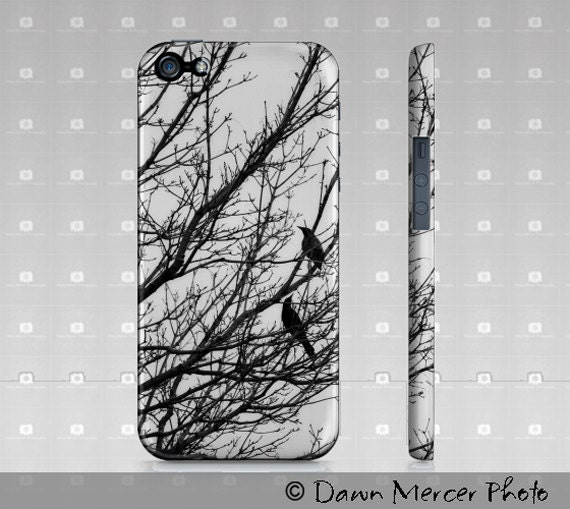 iPhone Case Black Birds Black White, Fine Art Phone Cases, Custom Printed, Fine Art Black And White Photographic Black Birds Case