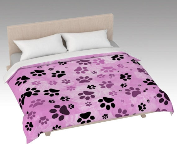 Pink Paw Print Duvet Cover | Dog Paws Bed Covering | Bed Cover Pink