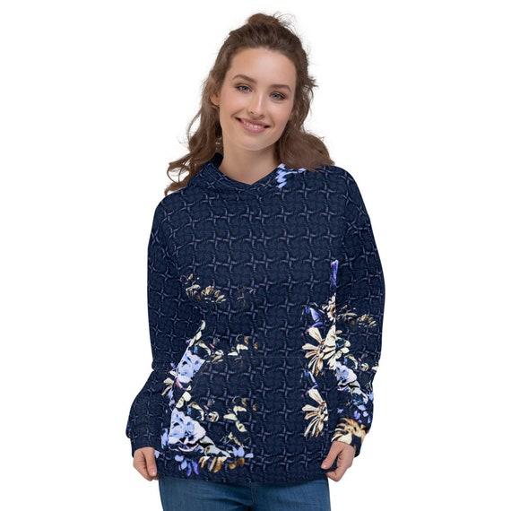 Blue Floral Hoodie Womens | Flower Art Pullover Hoodie