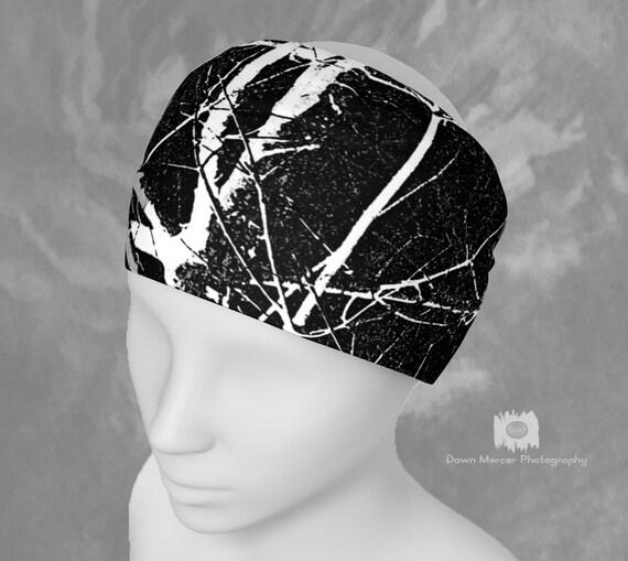 Black Headband Tree Print Hairband Bandana Neck Scarf Black White Fashion Hair Accessories Custom Printed Artist Designed