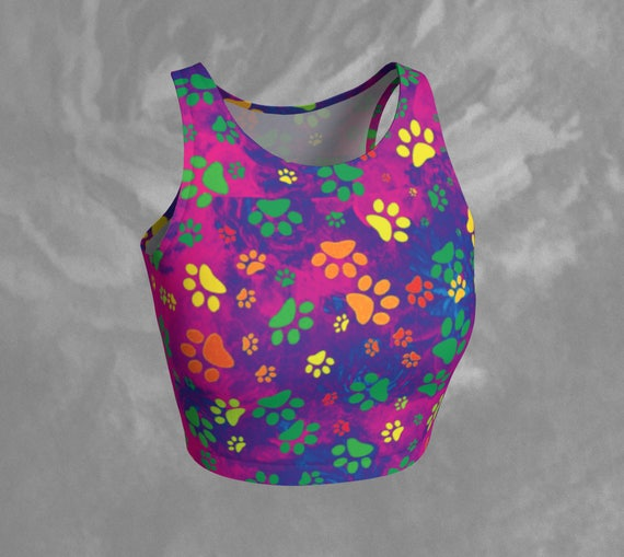 Paw Print Crop Top Rainbow Paw Print Crop Top Fitted Athletic Top Dog Paw Print Top Colourful Workout Crop Tank Printed Yoga Top Cropped