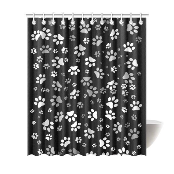 Paw Print Shower Curtain 72 X 84 Black White Dog