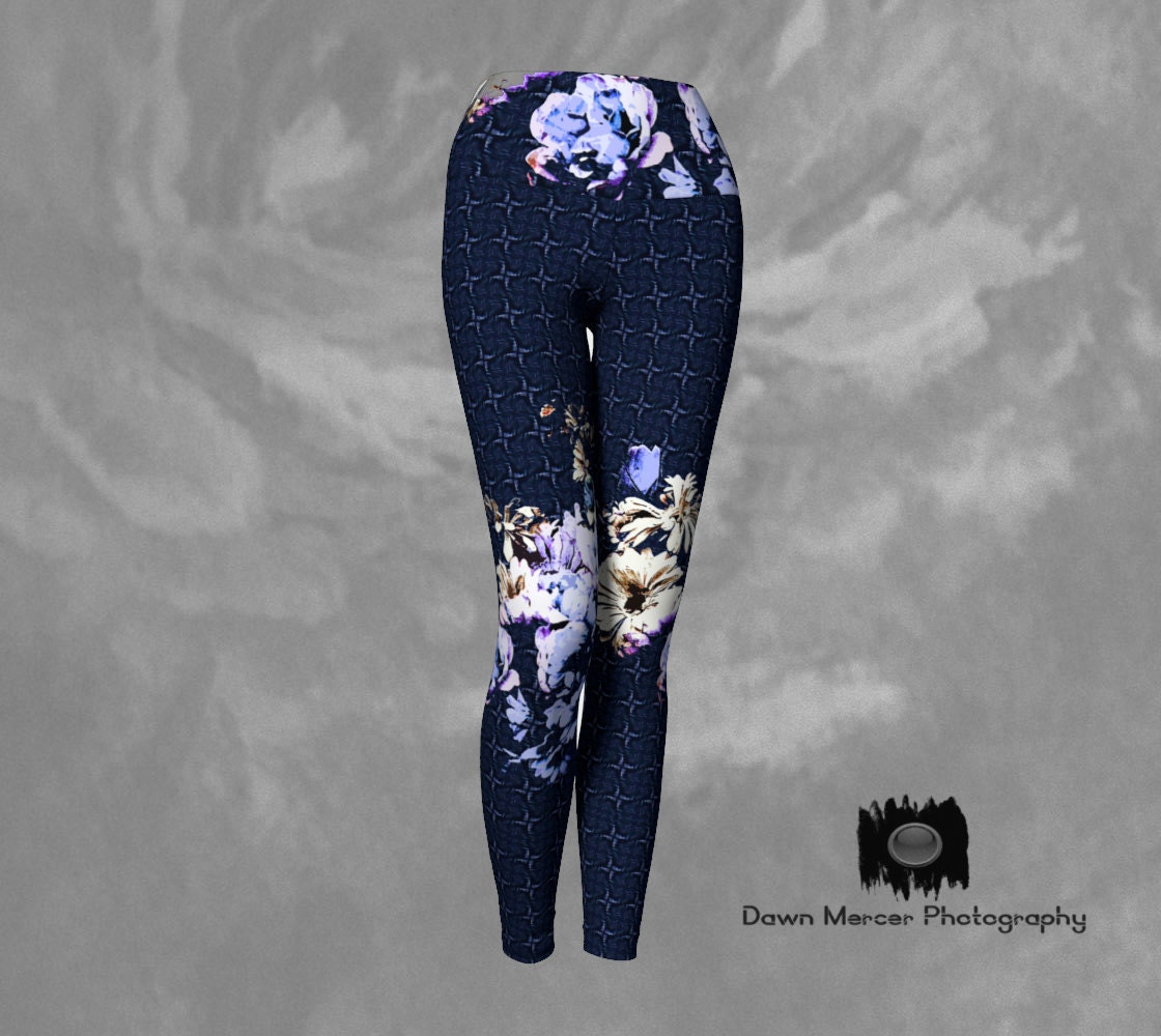 eb080923b111b Yoga Leggings Blue Floral, Flower Art Tights, Blue Artsy Yoga Pants,  Leggings Artsy, Blue Patterned Yoga Legging with Floral Art Print