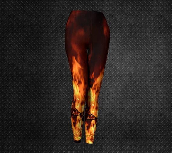 Flame Art Leggings Womens Cool Flame Print Leggings Custom Printed Artist Designed FREE SHIPPING