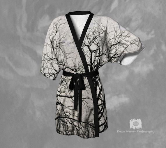 Tree Kimono Robe Ladies Kimono Tree Print Kimono Robe Silky Kimono Chiffon Kimono Womens Kimono Robe Ladies Unique Kimono Tree Art Print