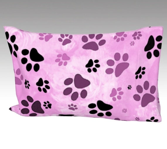 Pink Paw Print Pillow Case | Dog Paws Pillow Cover | Bed Pillow Sleeve