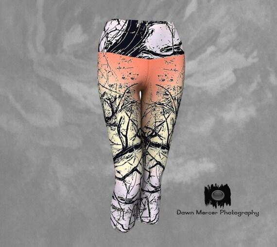Tree Capris Leggings | Tree Art Yoga Capris | Capris For Women