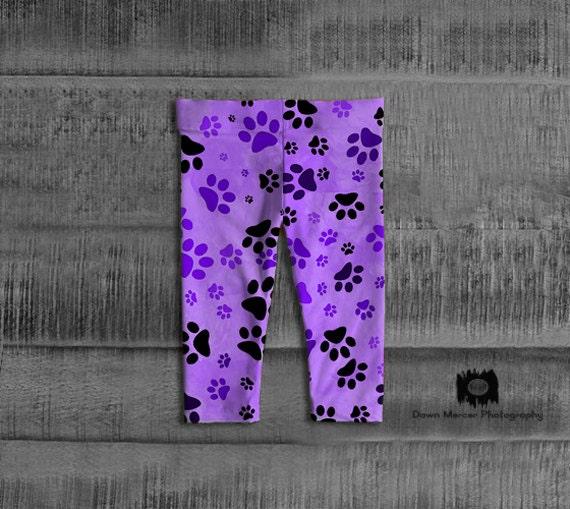 Purple Paw Baby Leggings   Dog Paw Baby Tights   Toddler Pants
