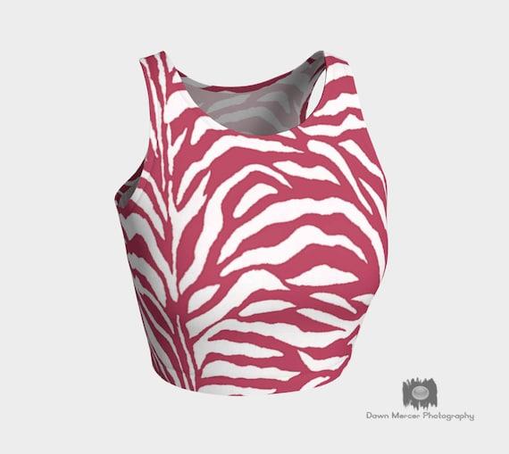 Tight Crop Top Printed Pink White Athletic Crop Top Pink Zebra Print Yoga Crop Top Designer Crop Womens Fitness Crop Top Activewear Ladies