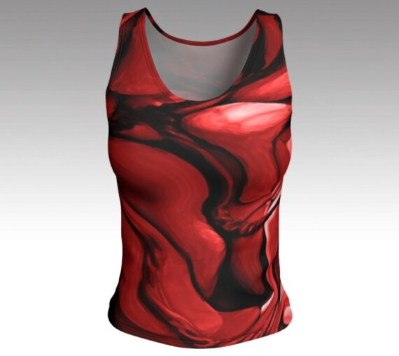 Red Abstract Tank Top   Red Fitted Tank Top Womens