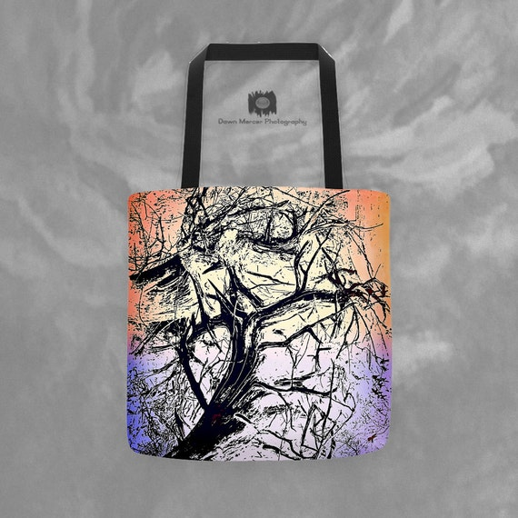 Printed Tote Bag Tree Art Print Unique 15x15 Artsy Tote Bag Custom All Over Printed Weather Resistant Artist Designed