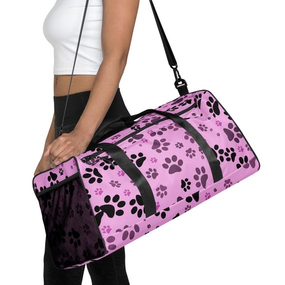 Dog Paw Duffle Bag   Paw Print Duffle Bag   Pink Paw Print Duffle Bag For Women   Custom Printed   Artist Designed
