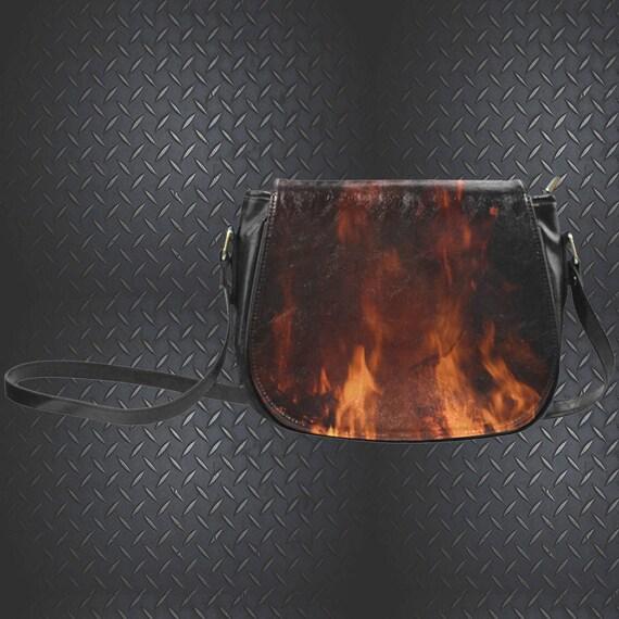 Flame Print Saddle Bag