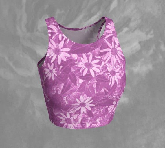 Floral Crop Top Pink Daisy Crop Top Flower Print Crop Top Pink Yoga Top Womens Clothing Fitness Tops Yoga Apparel Pink Flower Print Crop Top