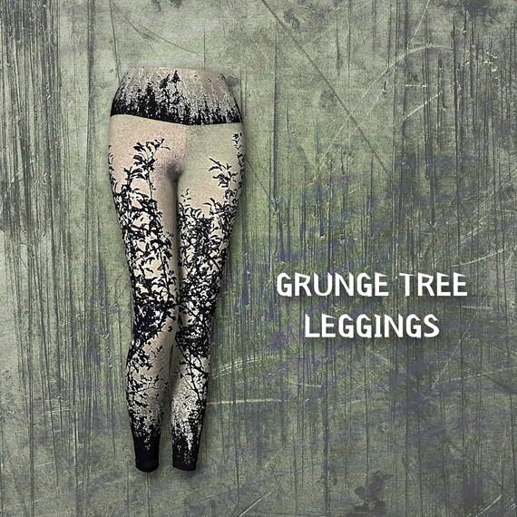 Grunge Tree Art Leggings Yoga Leggings For Women Artist Designed Custom Printed FREE SHIPPING
