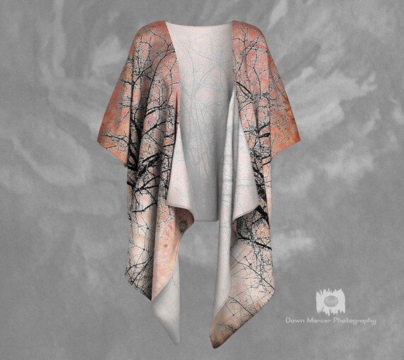 Womens Draped Kimono Silky Kimono Womens Sheer Kimono Womens Chiffon Kimono Tree Print Kimono Art Tree Kimono Printed Kimono Artistic Tree