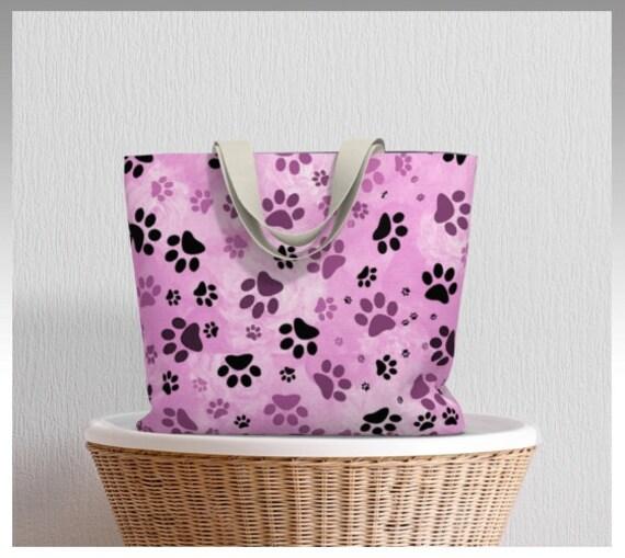 Dog Print Tote Bag | Pink Dog Paw Market Tote