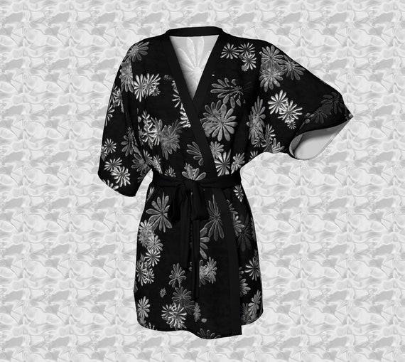 Daisy Art Kimono Robe Womens Printed Kimono Black White Daisy Print Lounge Robe Silk Bathrobe Sheer Kimono Rob Chiffon Kimono Robe