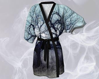 Tree Print Kimono Robe Printed Kimono Robe Womens Kimono Sheer Kimono Robe Silky Kimono Chiffon Kimono Bathrobe