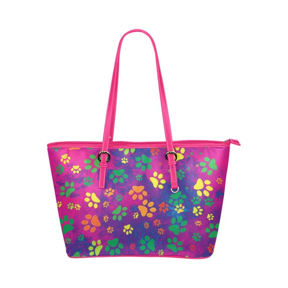 Rainbow Paw Print Tote Leather Tote Bag With Colourful Paw Print Design